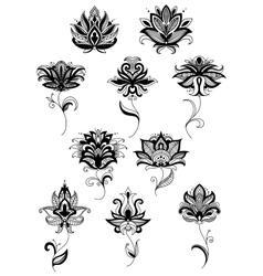 Black paisley flower design templates vector
