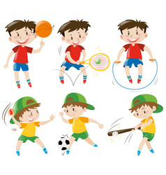 Boys doing different kinds of sports vector