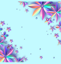 bright violet holographic flowers modern paper vector image
