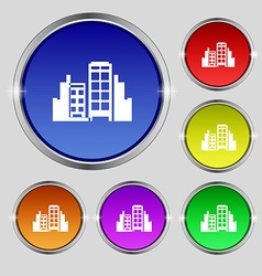 Buildings icon sign Round symbol on bright vector image