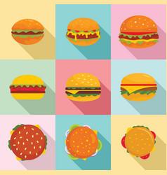 burger sandwich bread bun icons set flat style vector image