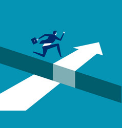 Businessman jumping over gap on way to success vector