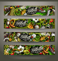 cartoon doodles football horizontal banners vector image