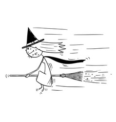 cartoon with flying sitting on broom vector image