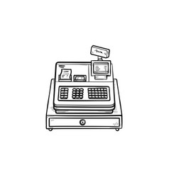 cash register hand drawn outline doodle icon vector image