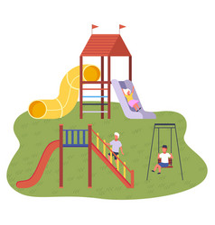 Children s summer playground with slide swings and vector