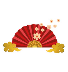 Chinese fan and clouds vector