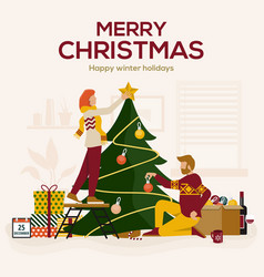 christmas cards design flat vector image