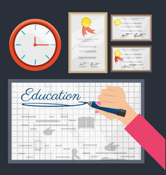 Class board with clock and diplomas vector