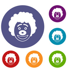 Clown head icons set vector