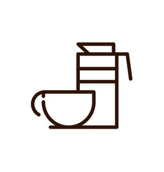 coffee maker and cup line design vector image