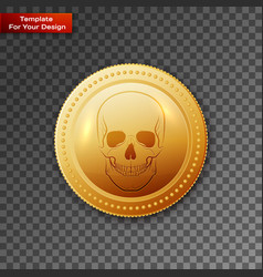Coin skull pirate on transparent background vector