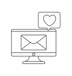 Computer monitor with envelope and speech bubble vector