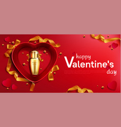 cosmetics bottle for valentine day in heart box vector image