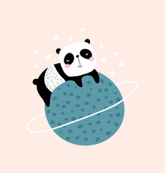 Cute slepping panda on planet childish print vector