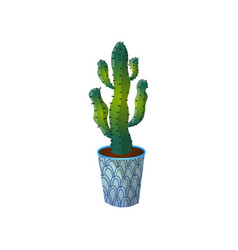 dessert green colorful cactus in blue striped pot vector image