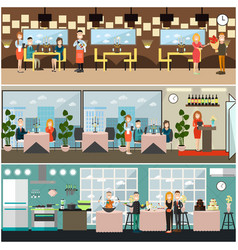 dinner at restaurant flat vector image