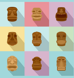 Disguise icons set flat style vector