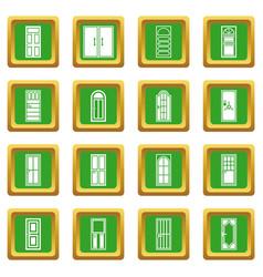 Door icons set green vector