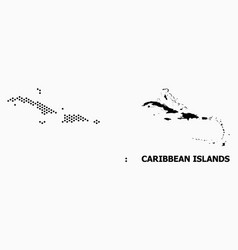 Dotted pattern map caribbean islands vector