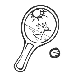 Equipment for beach tennisracket and ball vector