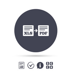 Export xls to pdf icon file document symbol vector