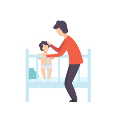 Father putting his kid to bed parent taking care vector