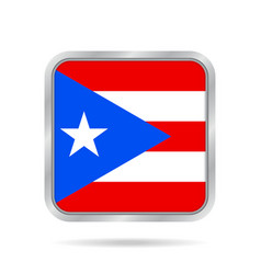 flag of puerto rico metallic gray square button vector image