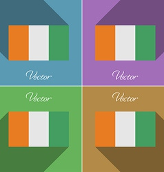 Flags Cote dlvoire Set of colors flat design and vector image