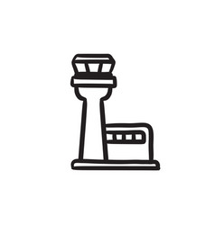 Flight control tower sketch icon vector