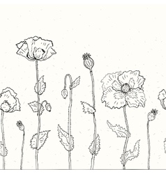 Floral background Hand drawn Poppies vector