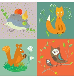 Forest animals and birds funny set for kids vector image vector image