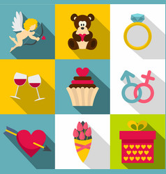 gift for valentine day icon set flat style vector image