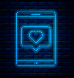Glowing neon line mobile phone and like with heart vector