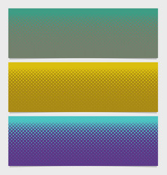Halftone square pattern horizontal banner set vector