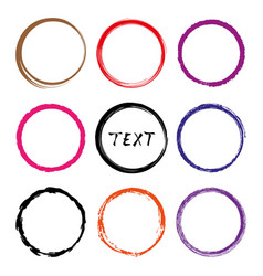 hand drawn circles line sketch set frames vector image