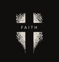 Hand-drawn cross with word faith vector