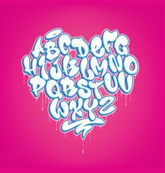 Hand drawn heart shaped graffiti font vector