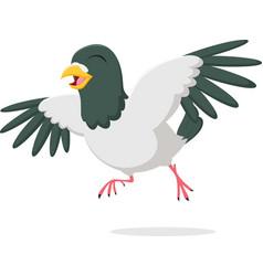 Happy pigeon cartoon character vector