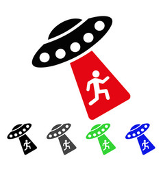 Human abduction ufo flat icon vector