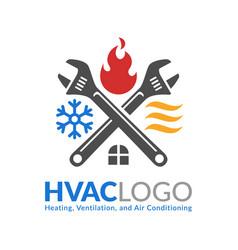 Hvac logo design heating ventilation and air vector