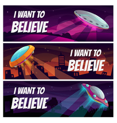 i want to believe ufo horizontal banners set of vector image