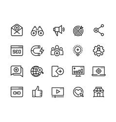 inbound marketing line icons lead social media vector image