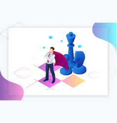 Isometric businessman standing on chess board vector