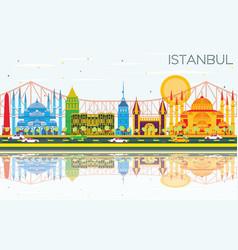 Istanbul skyline with color landmarks blue sky vector