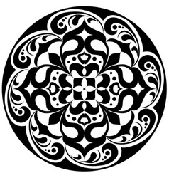 Kaleidoscopic floral tatoo mandala in black and vector