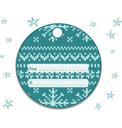 label round with a knitted turquoise-white vector image