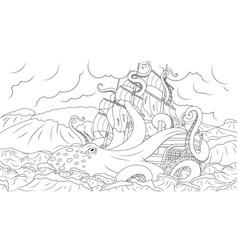 Large octopus kraken attacks ship vector