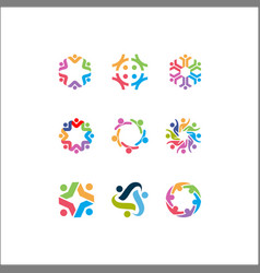 Logo icons people together - sign unity vector