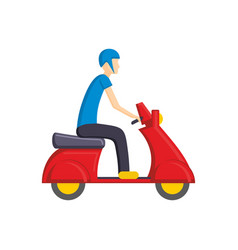 man on red scooter bike flat vector image